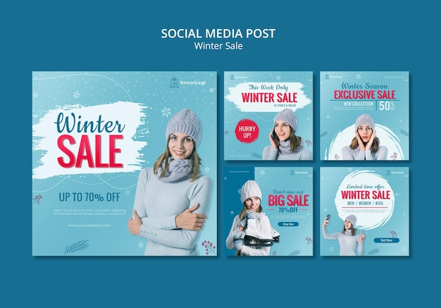 Коллекция постов в инстаграм для зимней распродажи с женщиной и снежинками