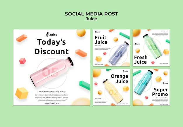 Instagram posts collection for fruit juice in glass bottle