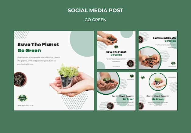 Instagram posts collection for going green and eco-friendly