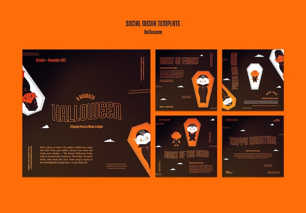 Raccolta di post di instagram per halloween con il vampiro nella bara