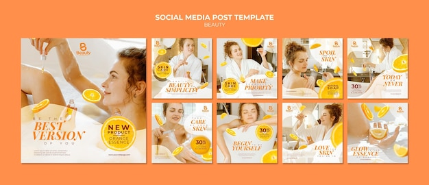 Instagram posts collection for home spa skincare with woman and orange slices