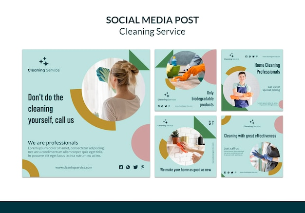 Instagram posts collection for house cleaning company