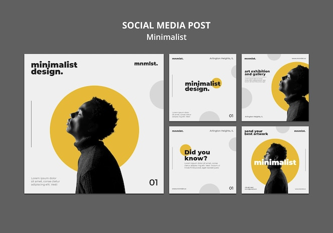 Коллекция постов в инстаграм в минималистском стиле для художественной галереи с мужчиной