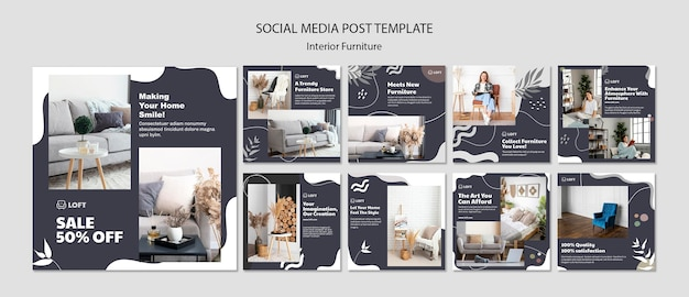 Raccolta di post su instagram per mobili di interior design