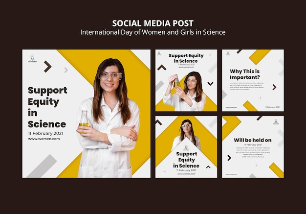 Instagram posts collection for international women and girls in science day