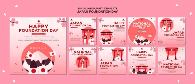 Instagram posts collection for japan foundation day with flowers