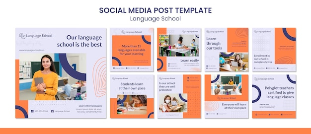 Instagram posts collection for language school
