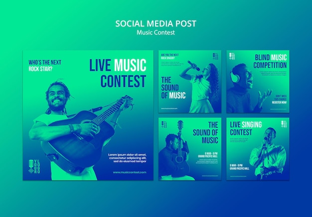 Instagram posts collection for live music contest with performer Free Psd