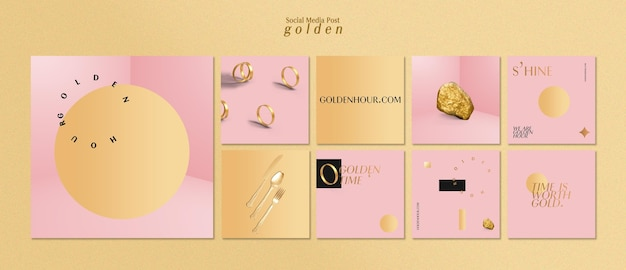 Instagram posts collection for luxurious gold