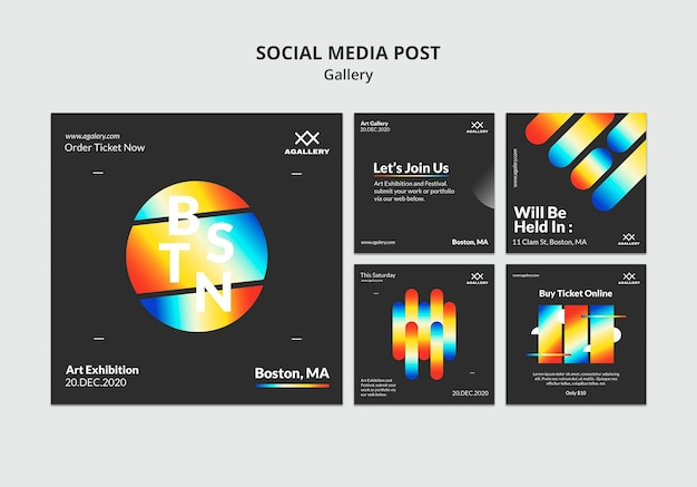 Instagram posts collection for modern art exposition Free Psd