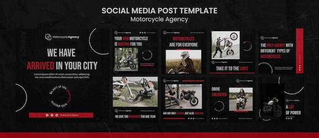 Instagram posts collection for motorcycle agency with male rider