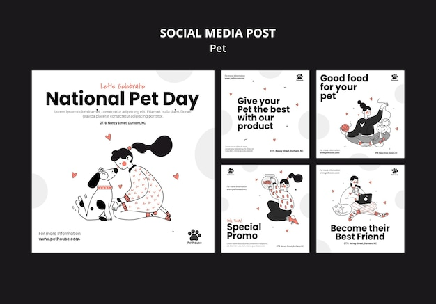 Instagram posts collection for national pet day with female owner and pet
