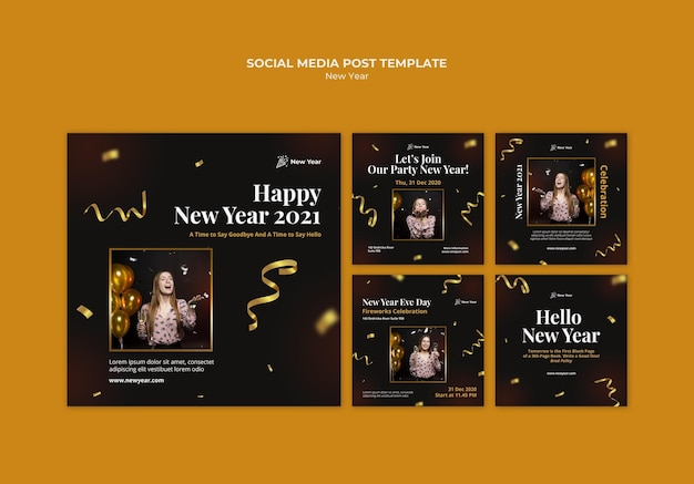 Instagram posts collection for new year party with woman and confetti