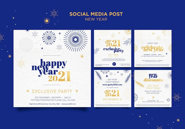 Instagram posts collection for new years party celebration
