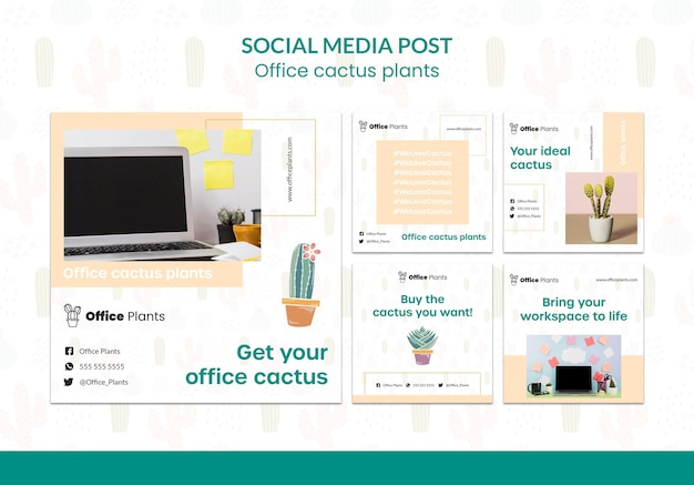 Instagram posts collection for office workspace plants