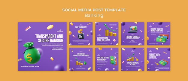 Instagram posts collection for online banking and finance