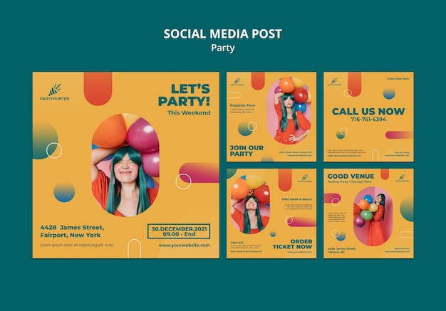 Instagram posts collection for party celebration with woman and balloons