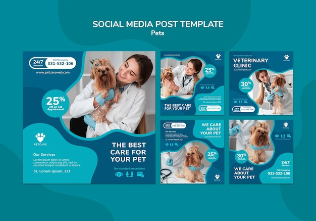 Instagram posts collection for pet care with female veterinarian and yorkshire terrier dog