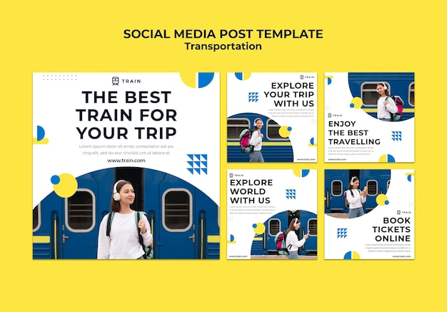 Instagram posts collection for public transportation by train with woman