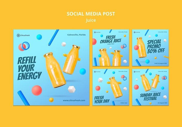 Instagram posts collection for refreshing orange juice in glass bottles