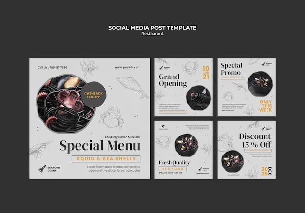 Instagram posts collection for seafood restaurant with mussels and noodles
