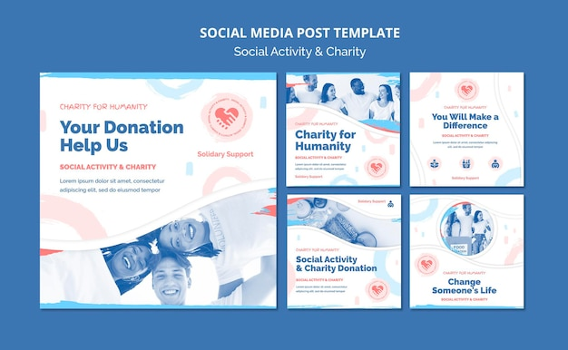 Instagram posts collection for social activity and charity