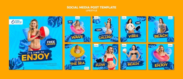 Instagram posts collection for summer beach vacation