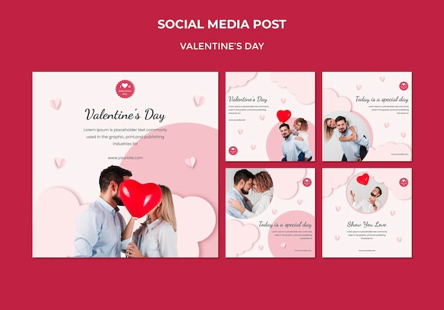 Instagram posts collection for valentine's day with couple in love