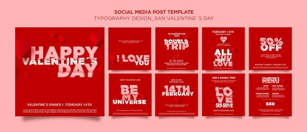 Instagram posts collection for valentine's day with hearts