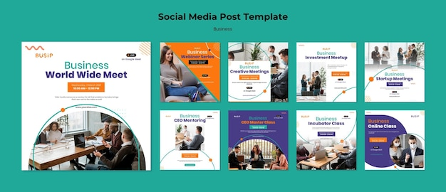 Instagram posts collection for webinar and business startup