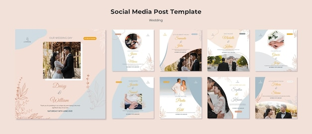Instagram posts collection for wedding ceremony with bride and groom