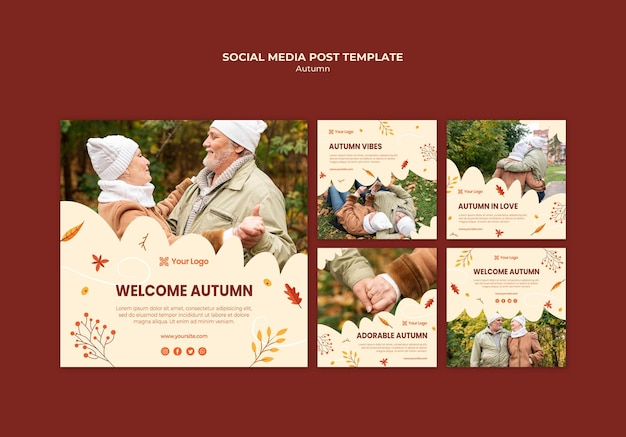 Instagram posts collection for welcoming the autumnal season