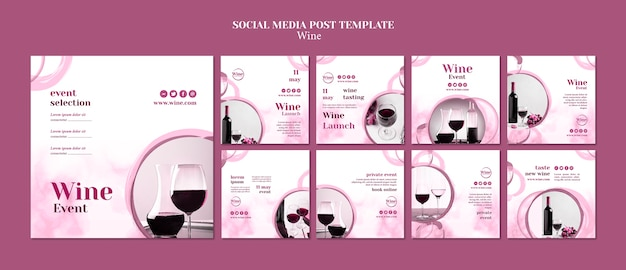 Instagram posts collection for wine tasting