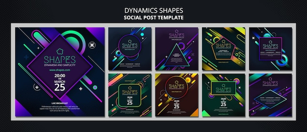 Instagram posts collection with dynamic geometric neon shapes