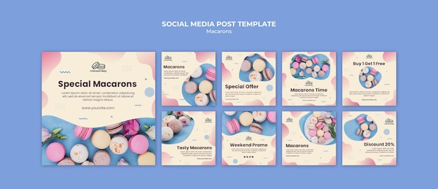Instagram posts collection with macarons Free Psd