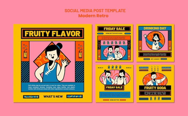 Instagram posts collection with modern vintage design for soft drinks