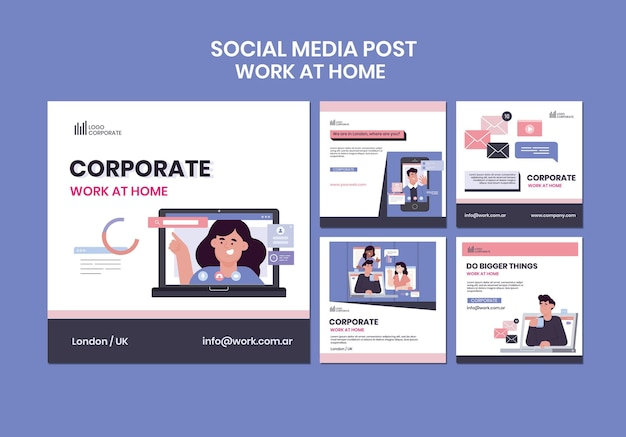 Raccolta di post di instagram per lavorare da casa