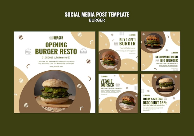 Instagram posts pack for burger restaurant