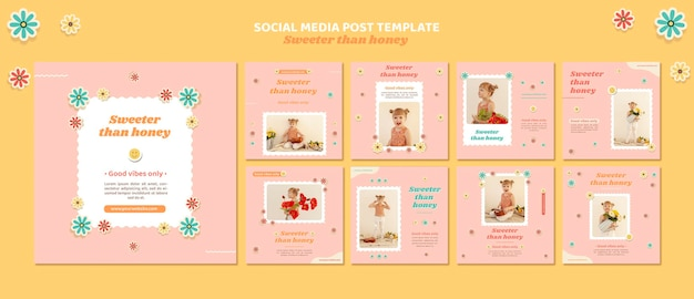 Instagram posts pack for children with flowers