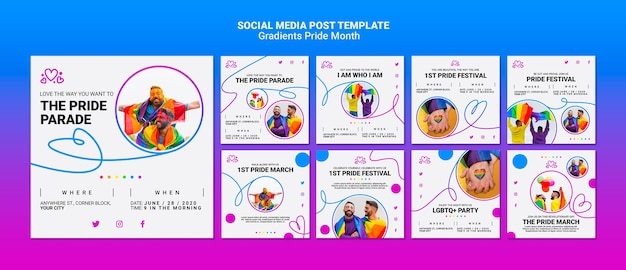 Instagram posts pack for lgbt pride