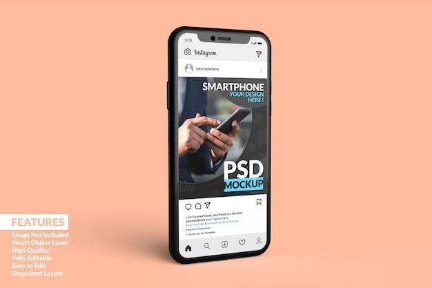 Шаблон поста instagram на макете мобильного телефона premium
