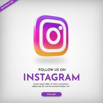 3dアイコンとinstagramのプロモーションバナーテンプレート