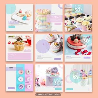 Instagramのポストデザートとケーキテンプレートコレクションプレミアムpsd