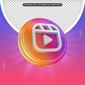 Instagram reels icon 3d render for composition