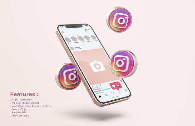 Instagram on rose gold mobile phone mockup