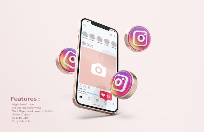 Instagram su rose gold mobile phone mockup