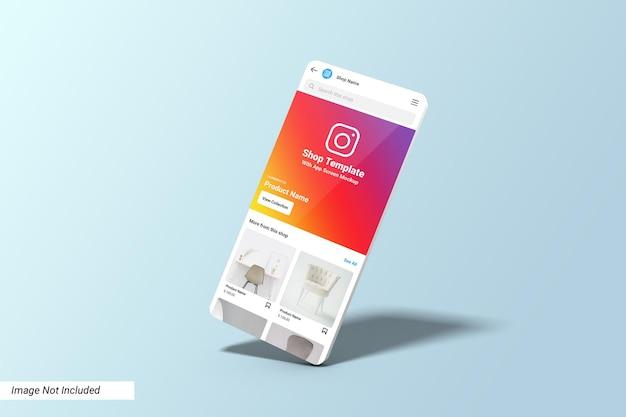 Instagram shop ui template on app screen mockup