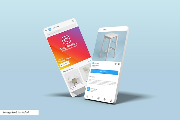 Instagram shop ui template on app screen mockup