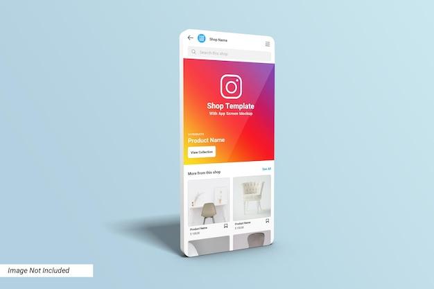 앱 화면 목업의 instagram shop ui 템플릿