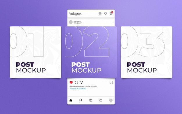 세 가지 게시물 모형의 instagram 슬라이드